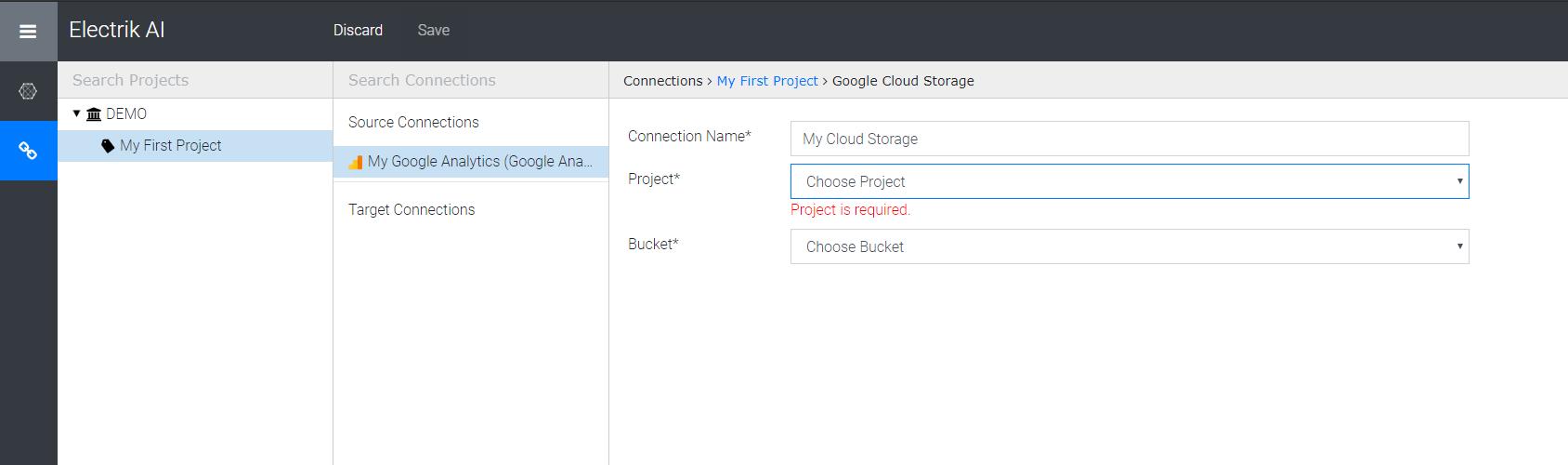 Google cloud storage project and bucket-Electrik.ai