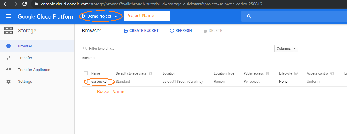 Google storage console-Electrik.ai