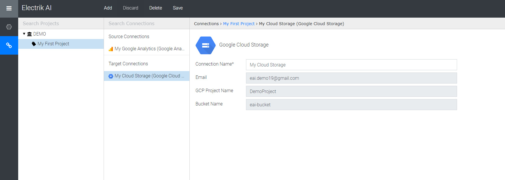 Successfully created google cloud storage connections-Electrik.ai