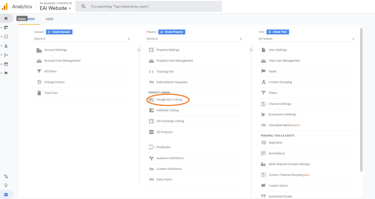 Link Google Ads to Google Analytics step 3-Electrik.AI