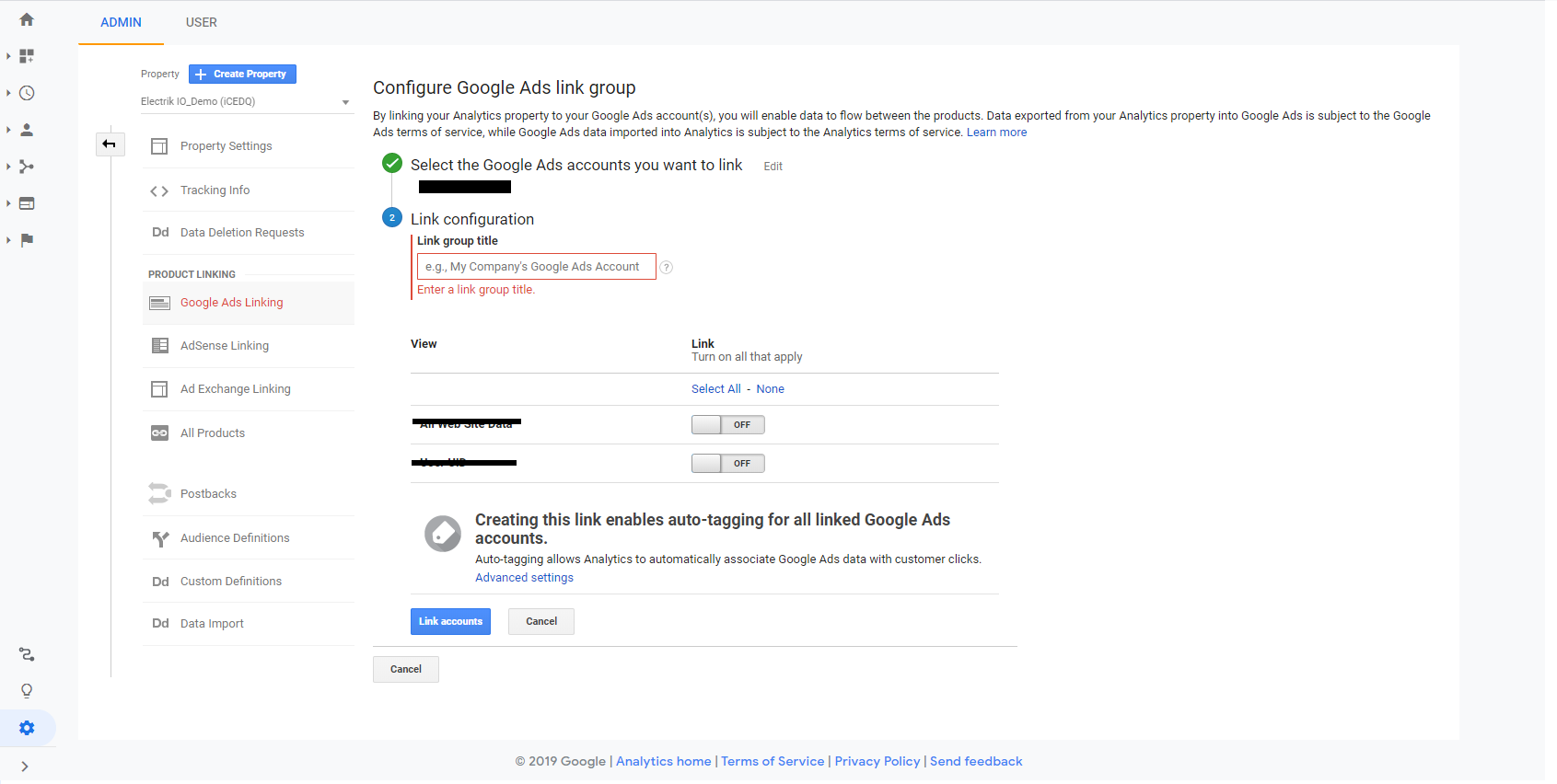 Link Google Ads to Google Analytics step 8-Electrik.AI