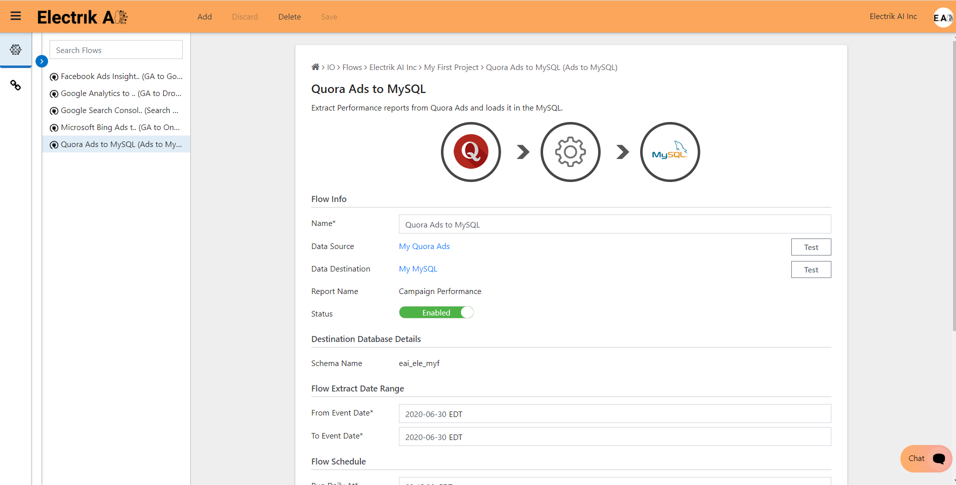 Congratulations, you have now successfully setup Quora Ads Performance Report to MySQL Database flow in ElectrikAI