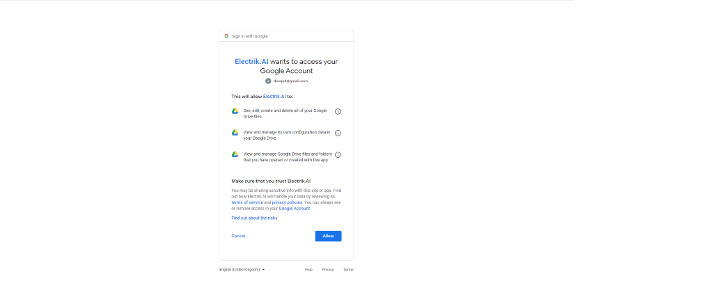 Step 8 Allow Electrik.AI to access your Google Drive account -ElectrikAI