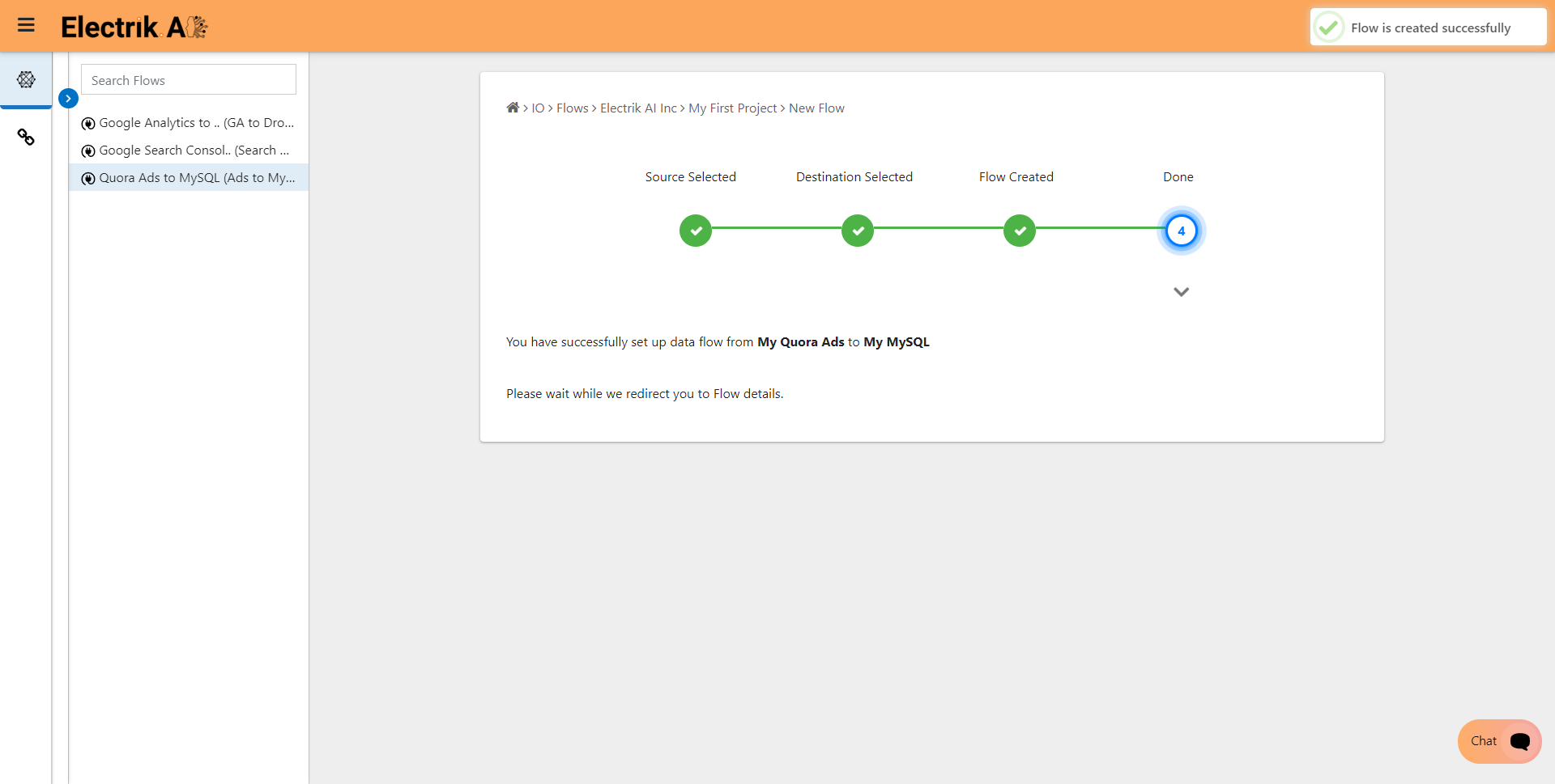 Step 10 Please wait while you are redirected to Flow Details Screen-ElectrikAI