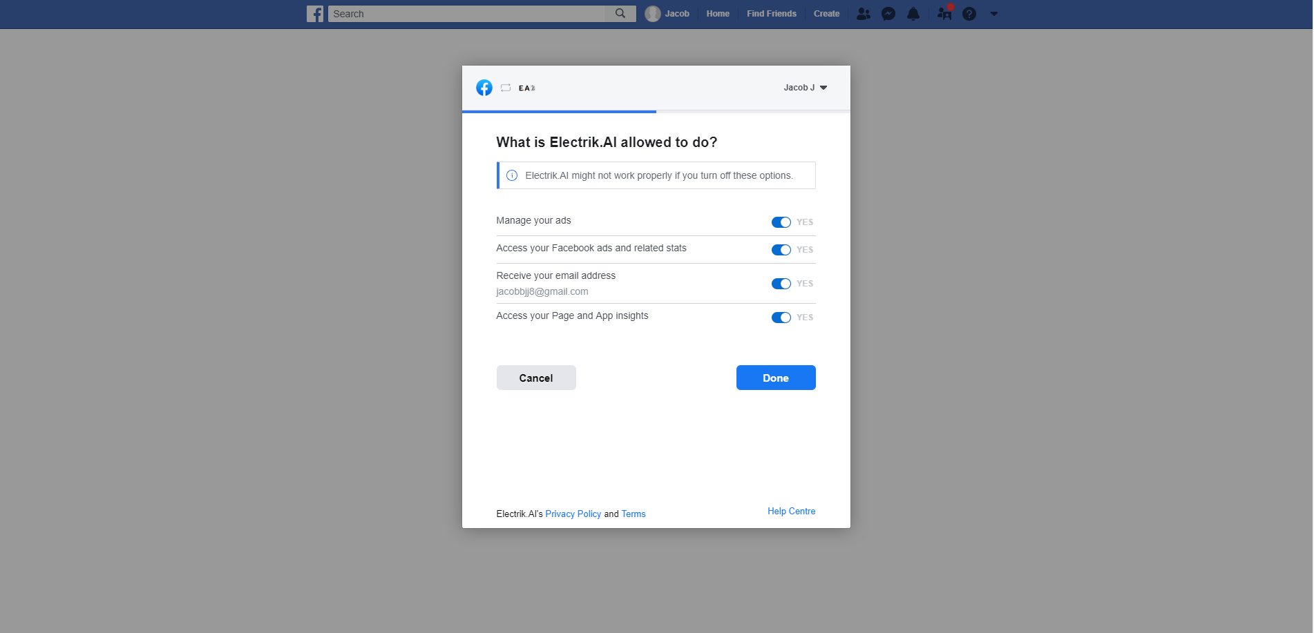 Step 8 Allow access your Facebook Ads account-ElectrikAI