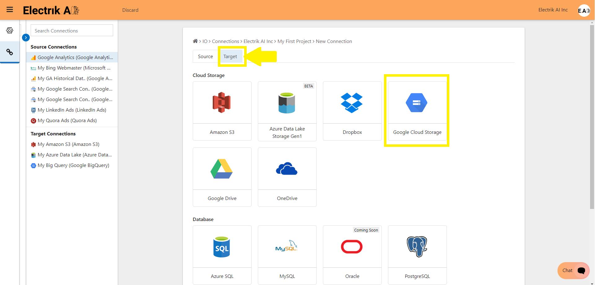 "Click on ""Google Cloud Storage"" connection-ElectrikAI"