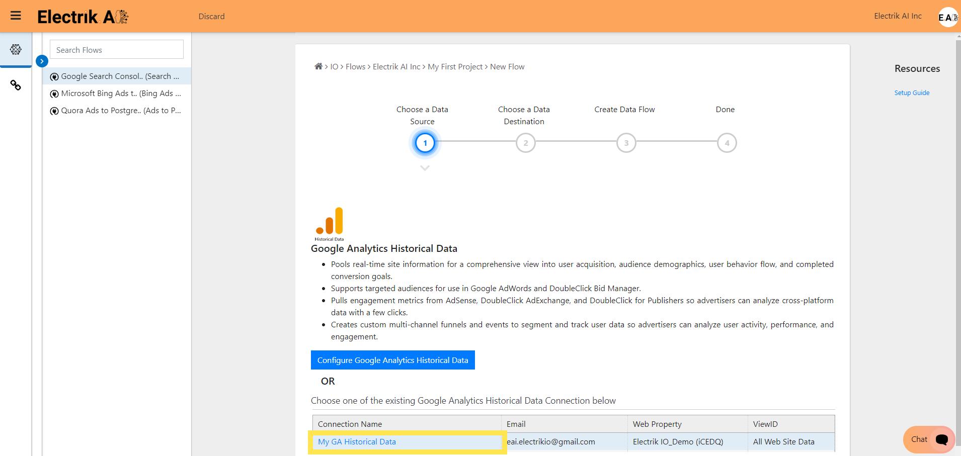 Step 6 Select your existing Google Analytics Historical Data-ElectrikAI
