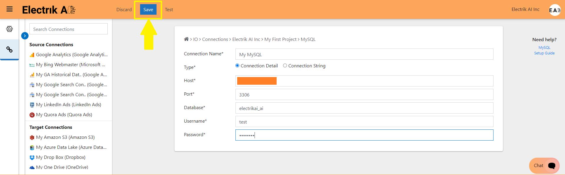 Step 7 Enter MySQL database and click on Save-ElectrikAI