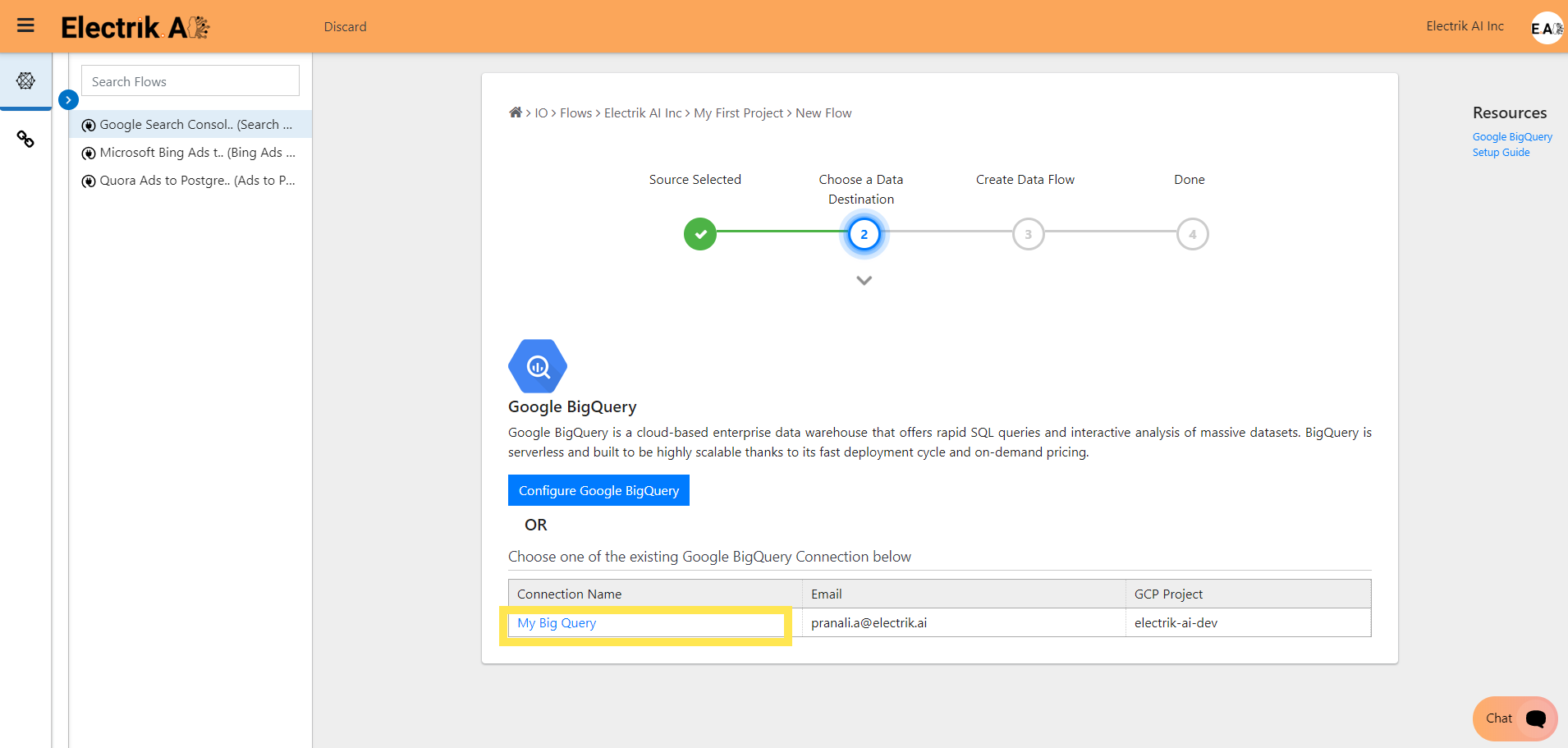Step 8 Select your existing Google BigQuery connection-ElectrikAI