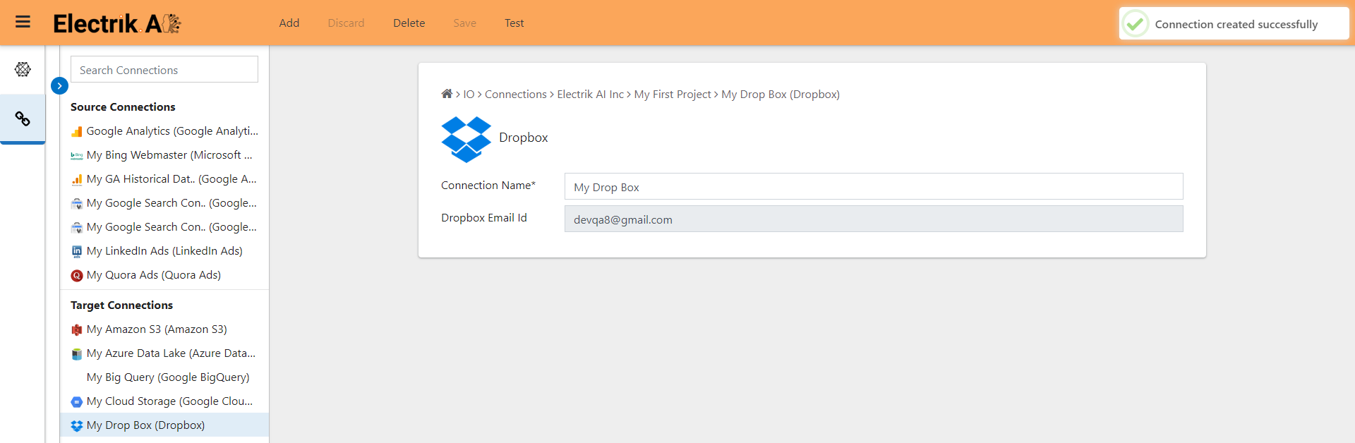 Successfully created a Dropbox connection in Electrik.AI
