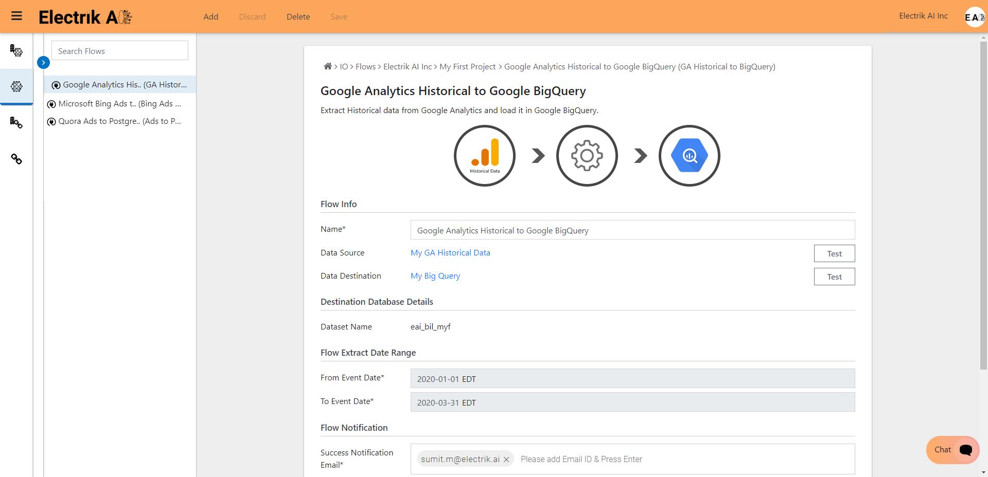Successfully setup Google Analytics Historical Data-ElectrikAI
