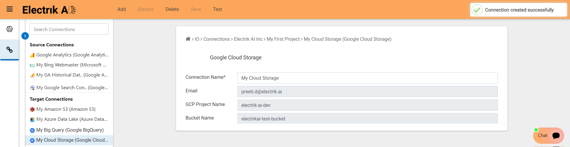Congratulations, Google Cloud Storage connection-ElectrikAI