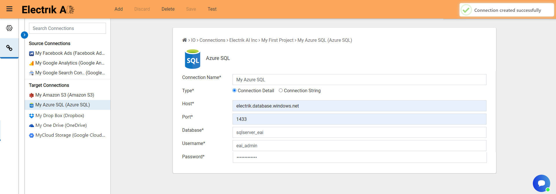 Congratulations you have successfully created a Azure SQL database connection-ElectrikAI