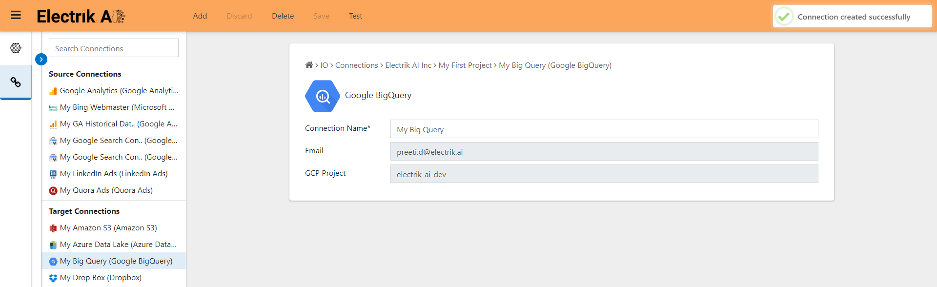 Congratulations, you have successfully created a Google BigQuery connection-EelctrikAI