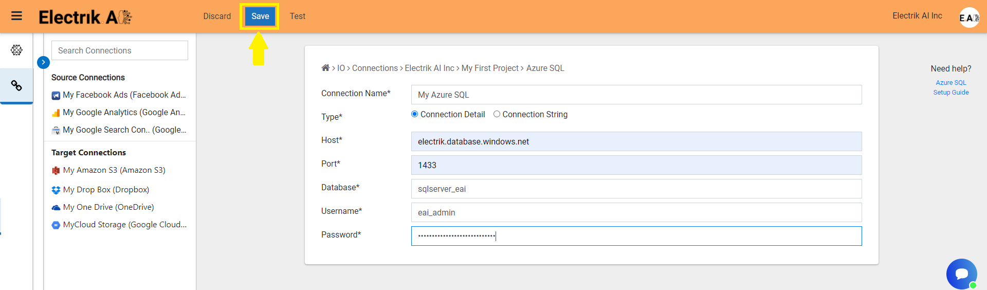 Enter Azure SQL database connection details -ElectrikAI