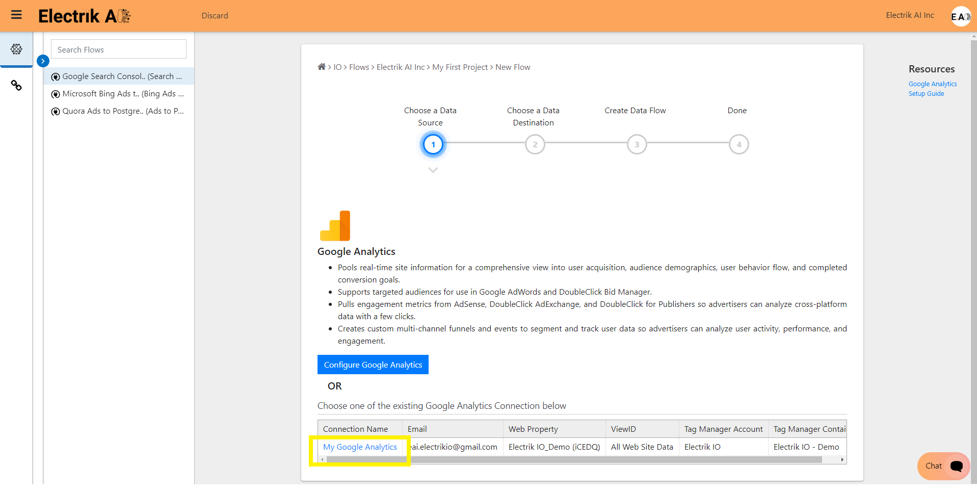 Setup your Google Analytics Account-ElectrikAI