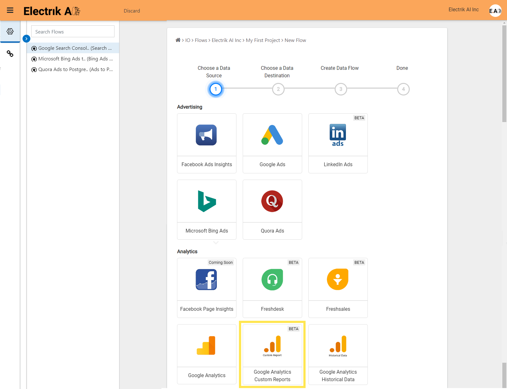 Step 5 Select Google Analytics Custom Report Connection-ElectrikAI
