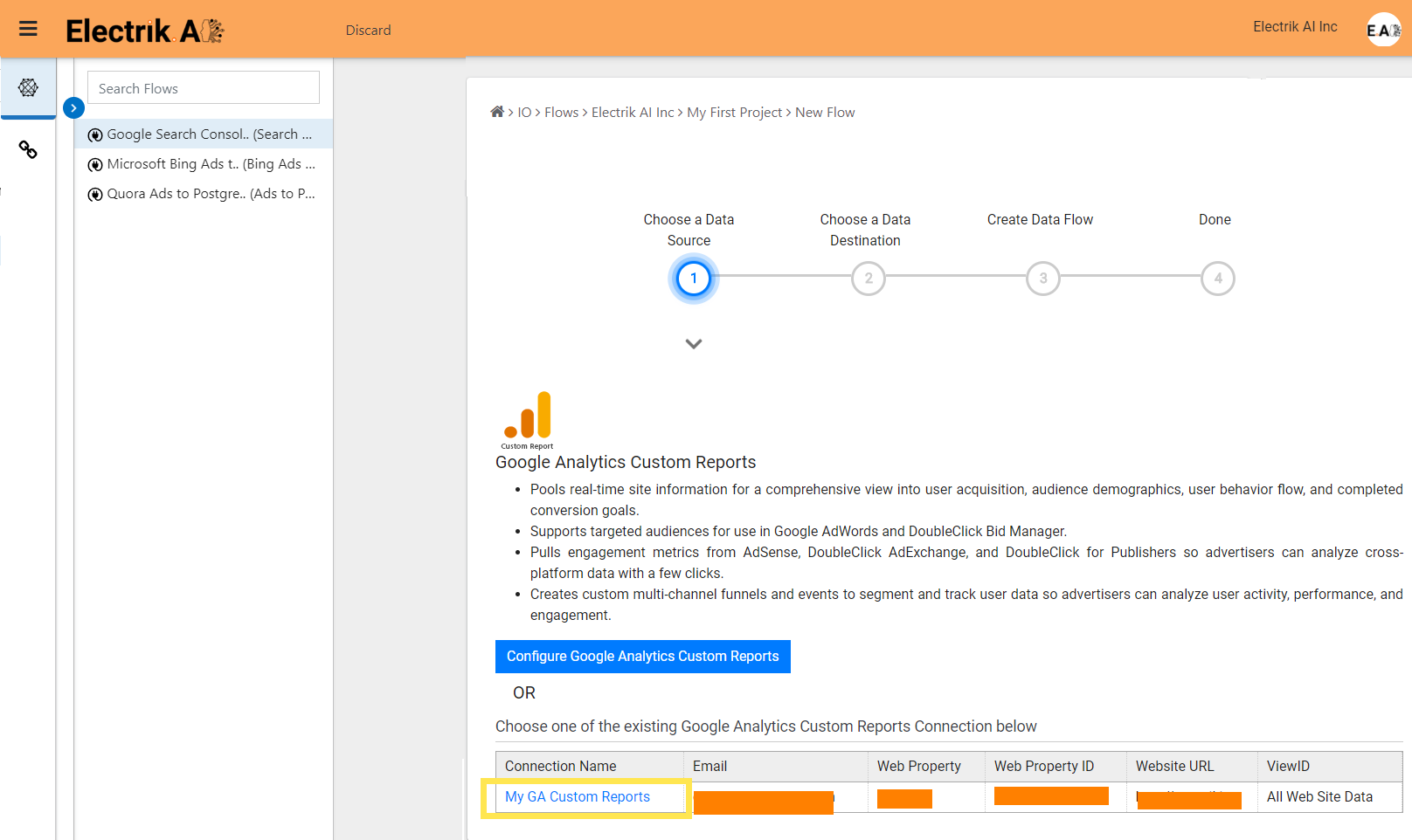 Step 6 Select your existing Google Analytics Custom Report connection-ElectrikAI