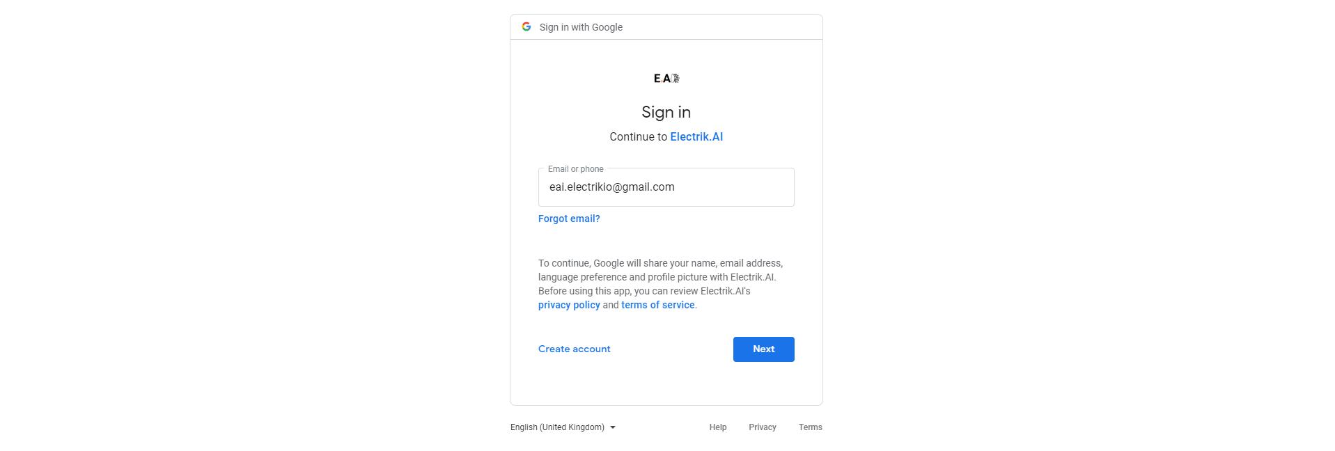 Step 7 Provide your GA UserID-ElectrikAI