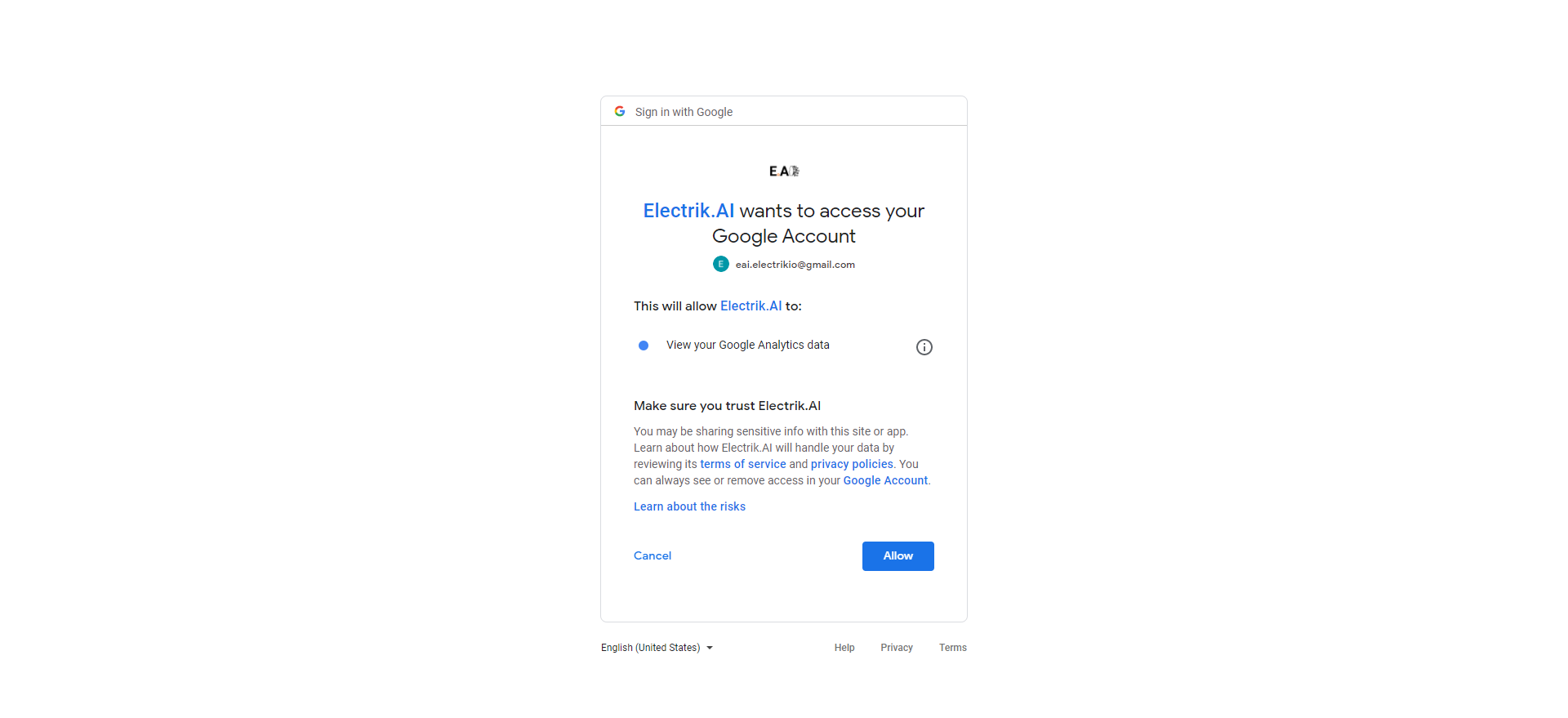 Step 8 Allow Electrik.AI to access your Google Analytics account-ElectrikAI