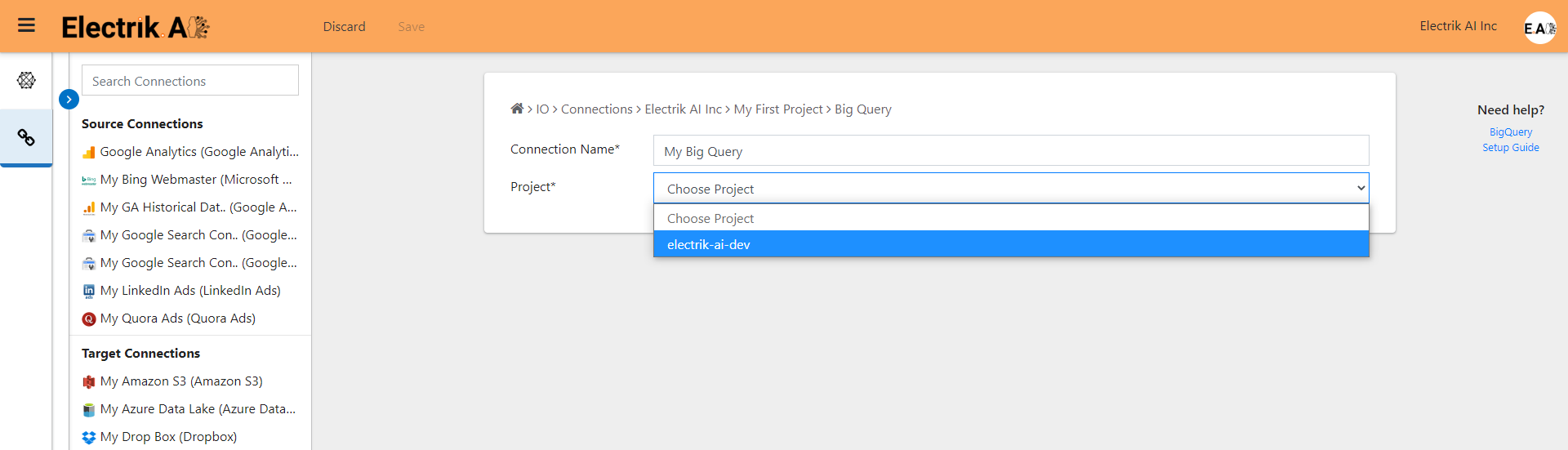 Choose your Google BigQuery Project-ElectrikAI