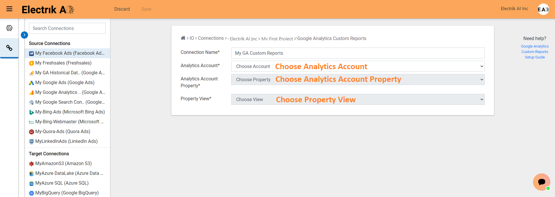 Step 9 Select the Google Analytics Account details-ElectrikAI
