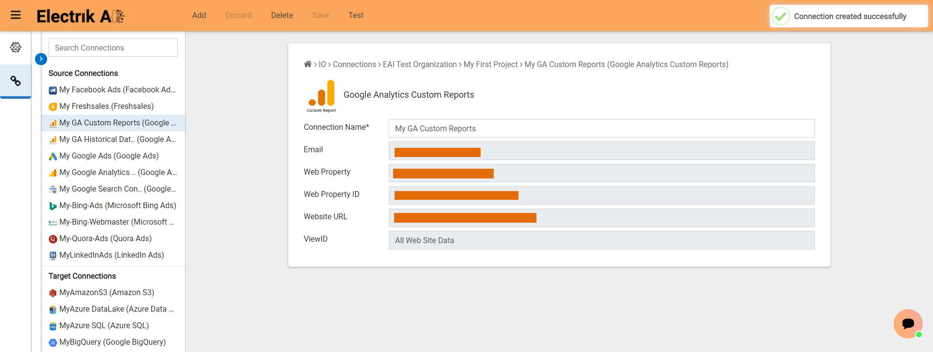 Successfully created a Google Analytics Custom Report Connection-ElectrikAI