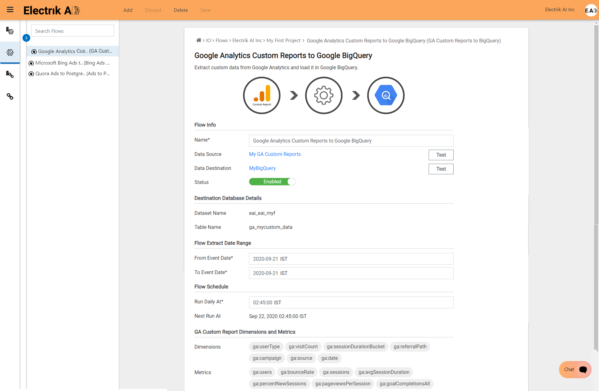 You have now successfully setup Google Analytics Custom Report-ElectrikAI