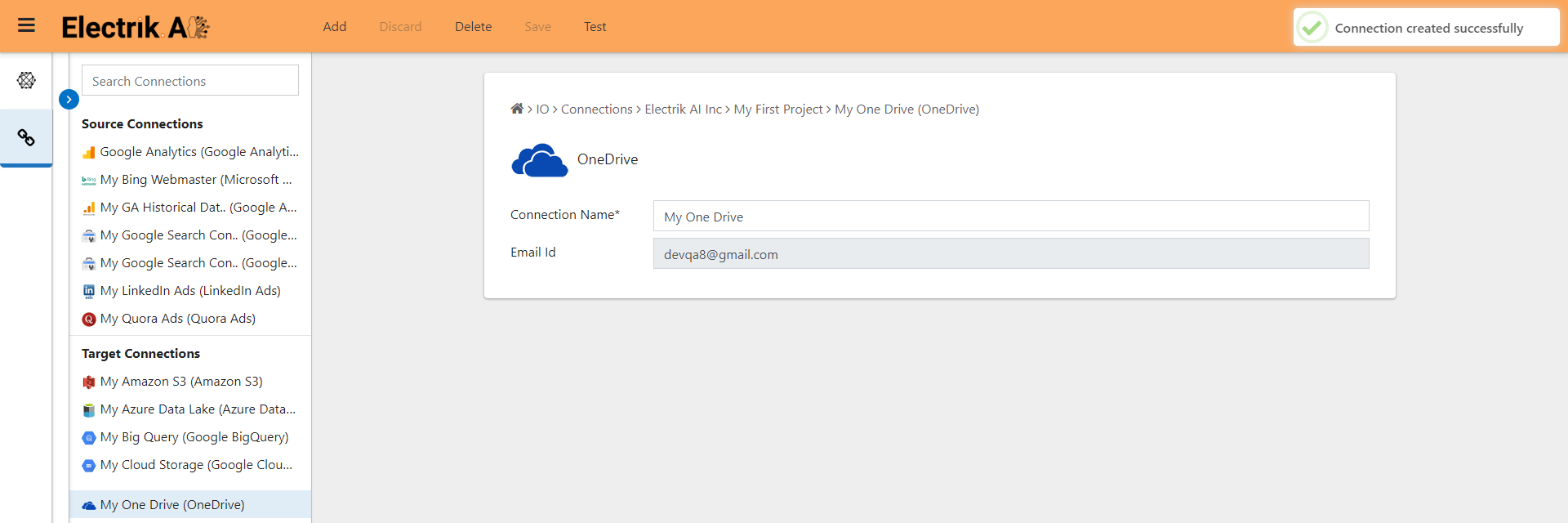 You have successfully created a Microsoft OneDrive connection-ElectrikAI