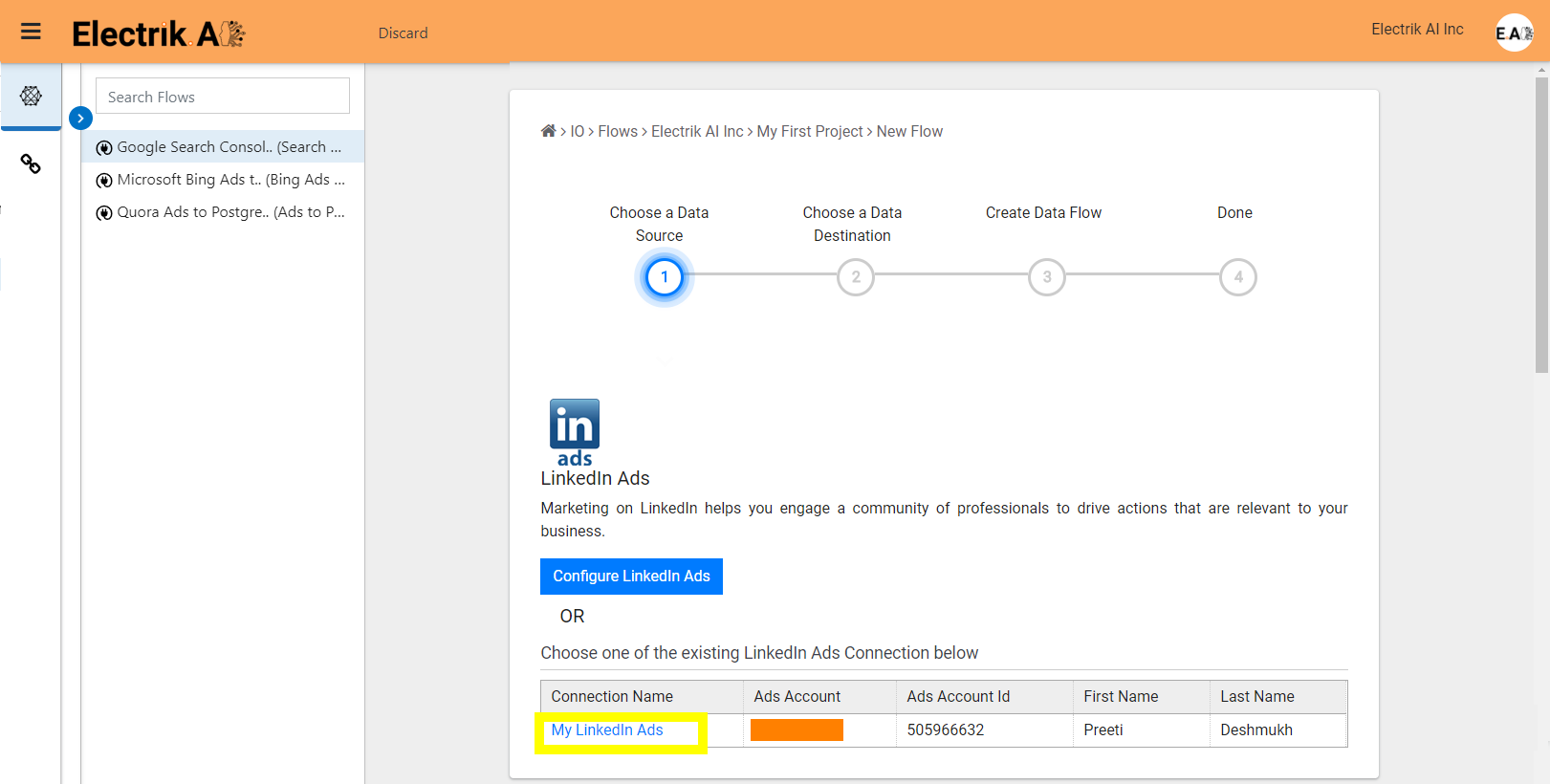 Step 6 Select your existing LinkedIn Ads connection-ElectrikAI