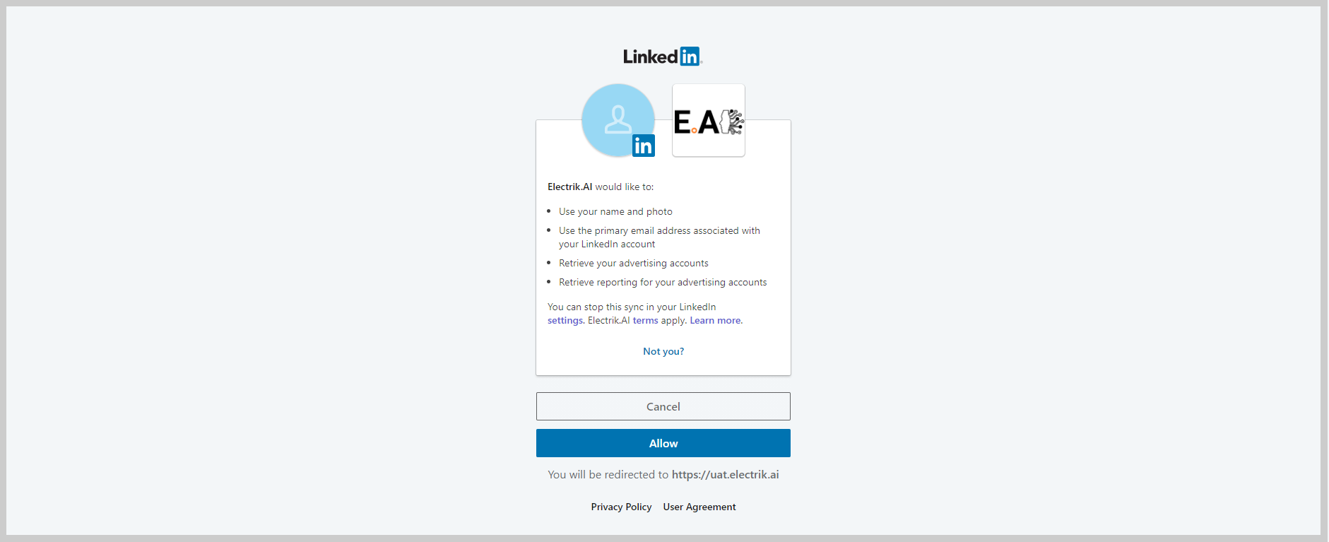 Step 7 Allow Electrik.AI to access your LinkedIn Ads account-ElectrikAI