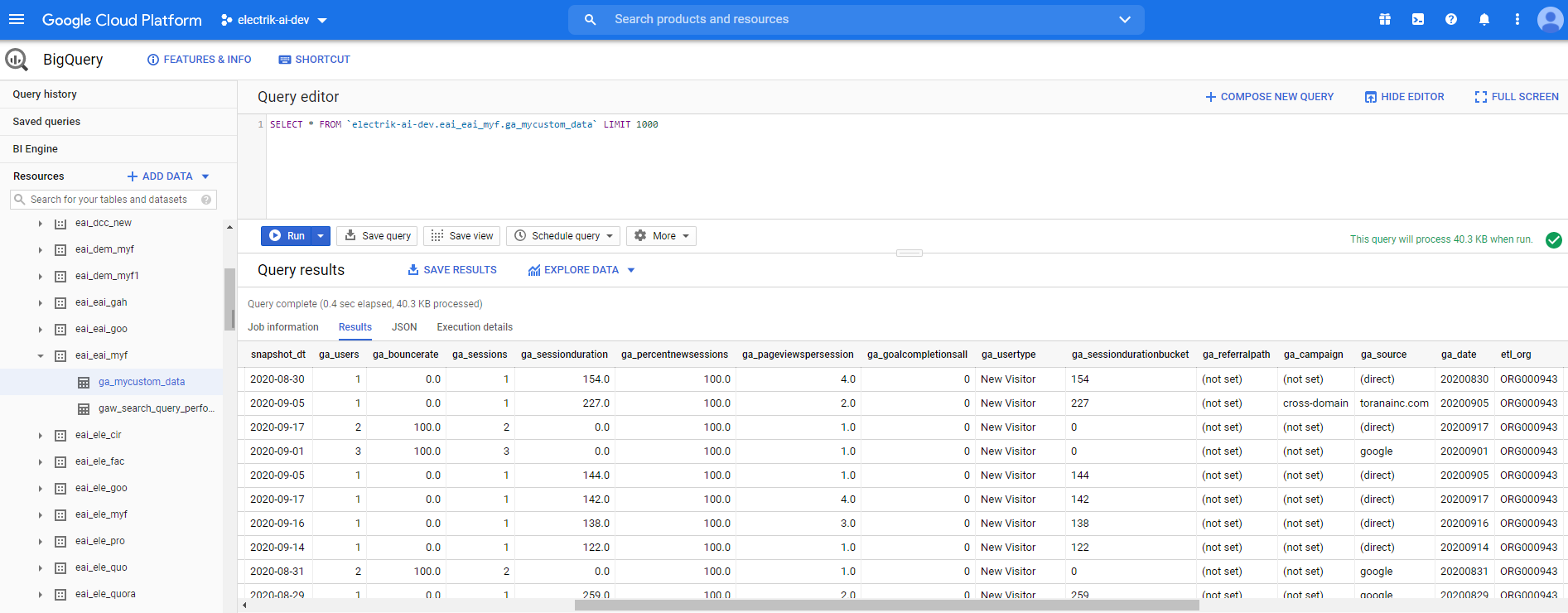 Your Google Analytics data will start loading after 24 hours in your Google BigQuery Dataset-ElectrikAI