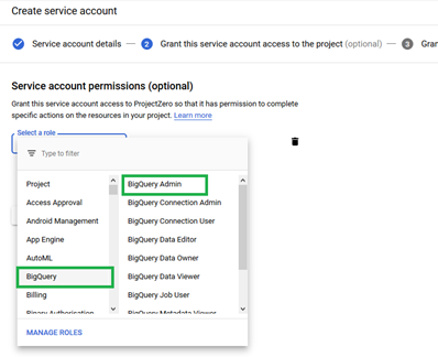 Choose BigQuery- BigQuery Admin