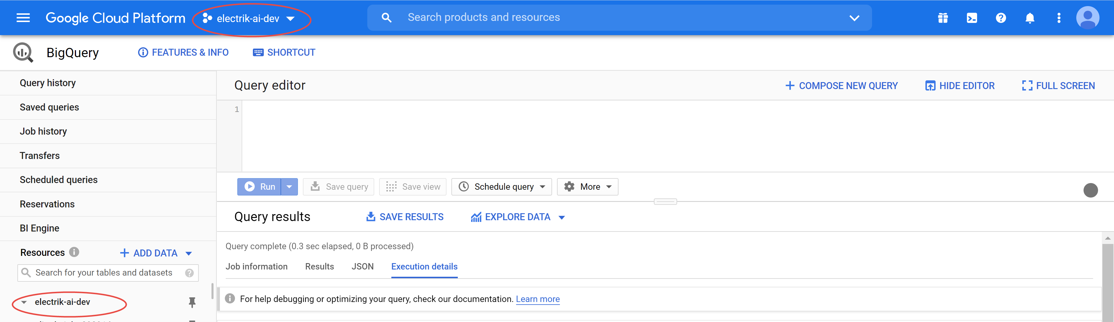 Note Google BigQuery Project can be found