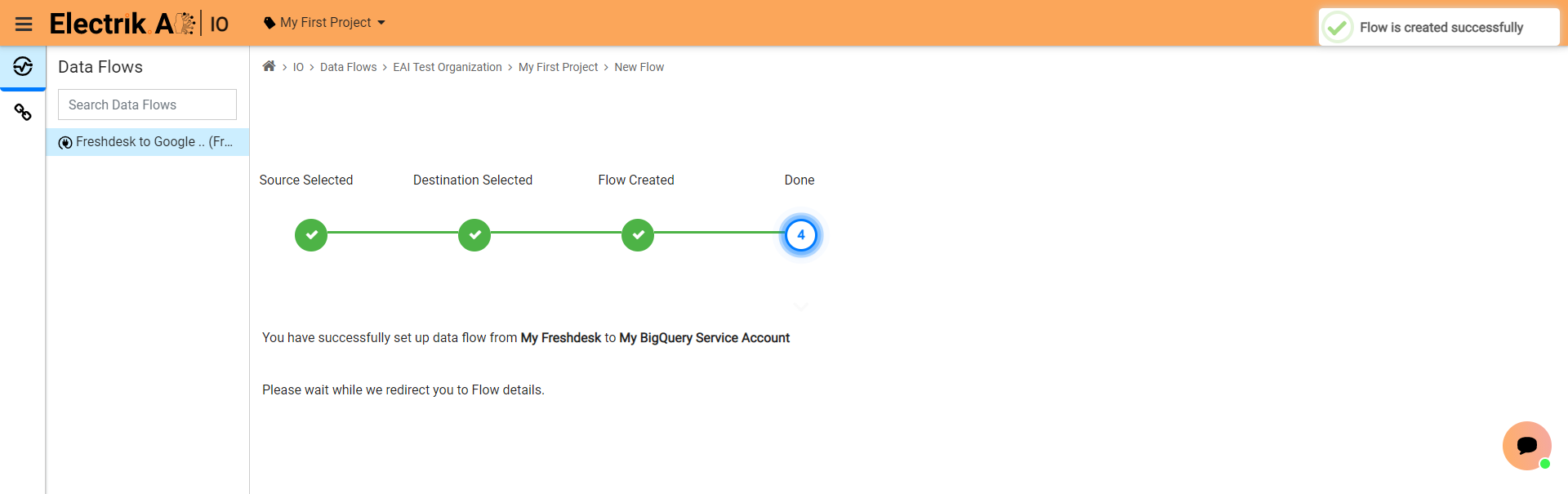 Step 10 Please wait while you are redirected to Flow Details Screen