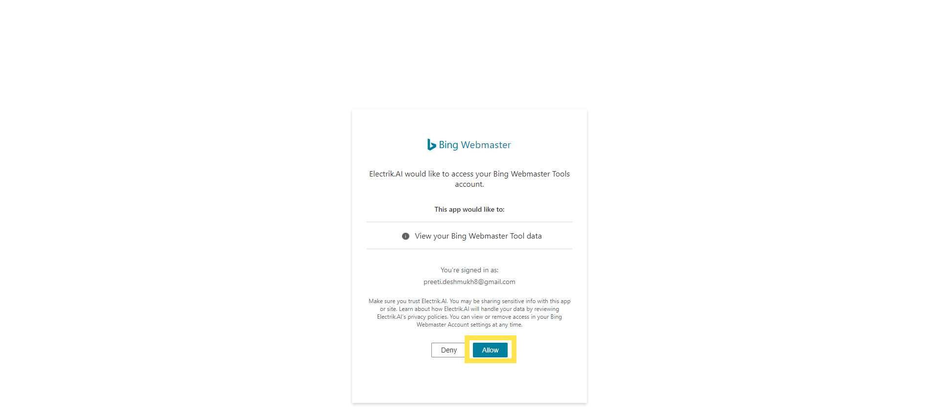 Allow Electrik.AI to access your Bing Webmaster account