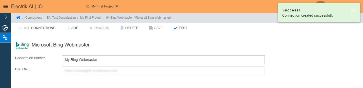 Congratulations, you have successfully created a Bing Webmaster Connection in Electrik.AI