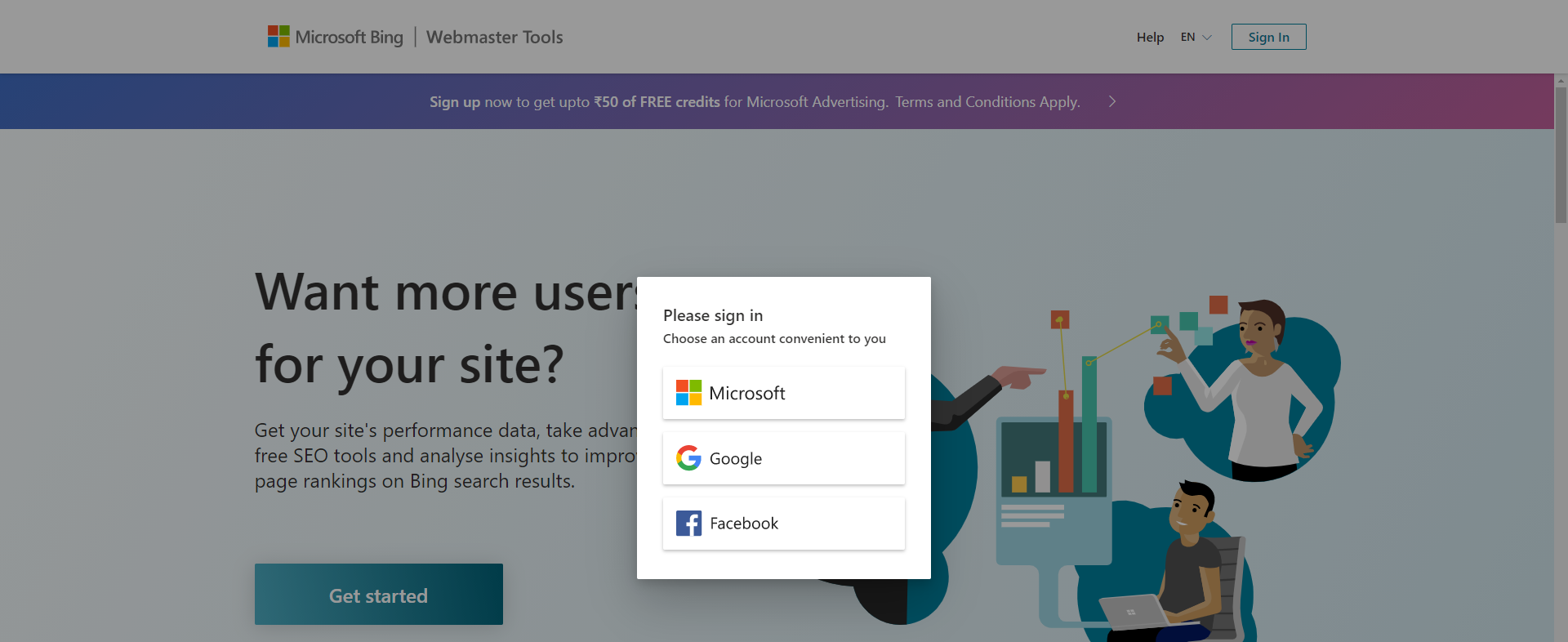 Provide your Bing Webmaster account User Id and Password
