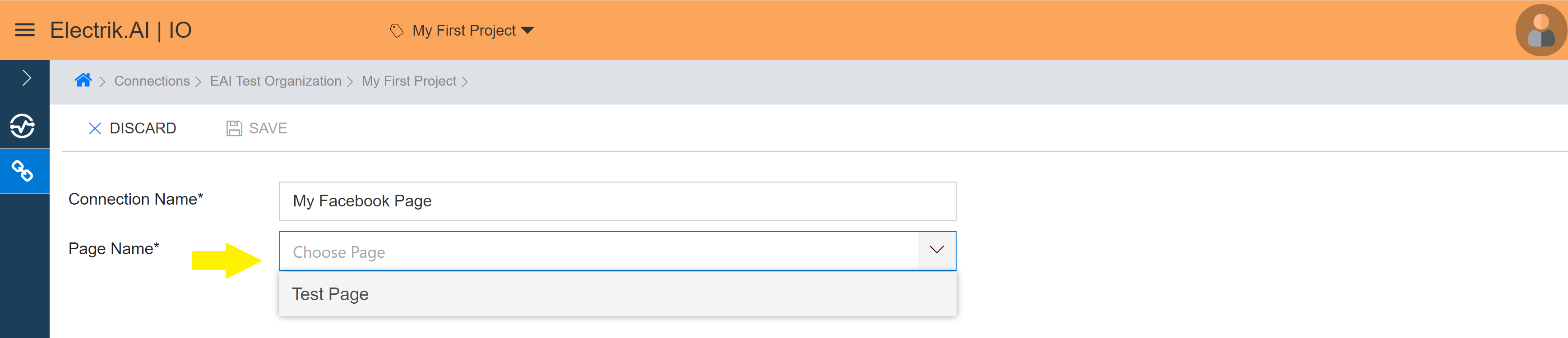 Select the Facebook Page from the dropdown whose data you wish to export