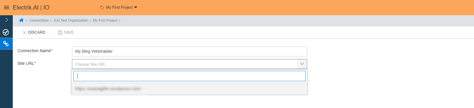 Select the Site URL from the dropdown whose data you wish to export