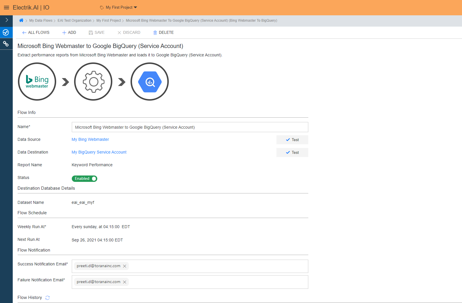 You have now successfully setup Bing Webmaster to BigQuery Data Warehouse flow in ElectrikAI