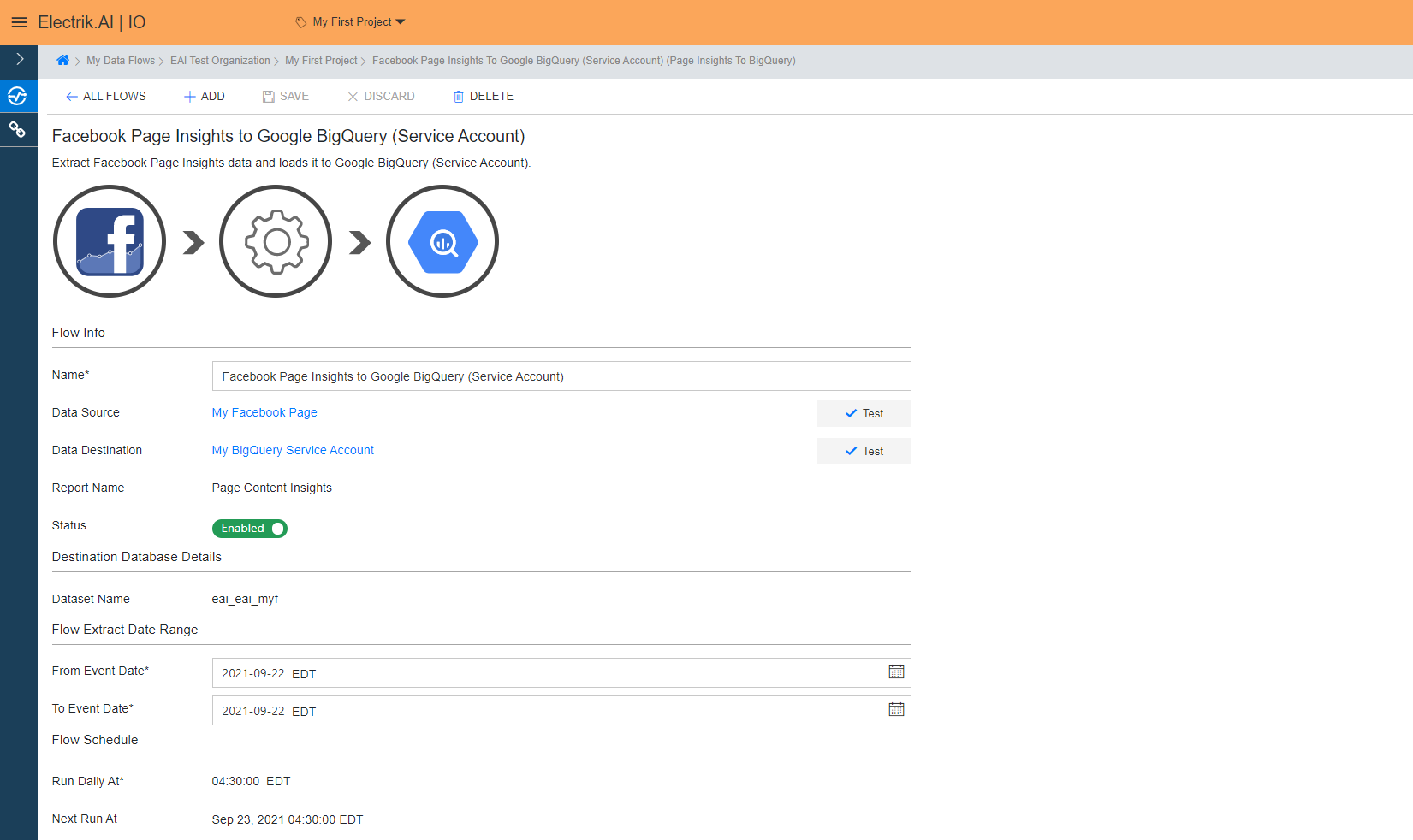 You have now successfully setup Facebook Page Insights Report to BigQuery